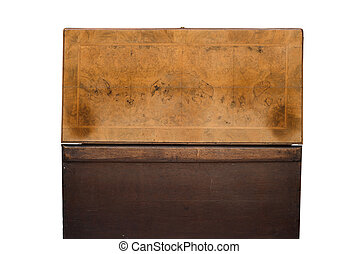 Rear View of an Opened Antique Wooden Trunk