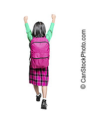 Rear view of Asian cute girl with a backpack and excited expression standing