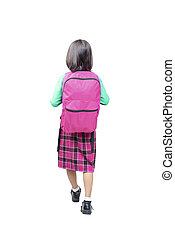 Rear view of asian cute girl with pink backpack standing
