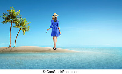 Rear view of asian tourist woman with hat standing
