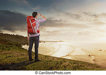 Rear view of asian traveler man with backpack looking at panorama