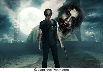 Rear view of asian woman with pistol standing in front of big zombie