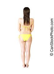Rear view of attractive wet woman in yellow bikini.