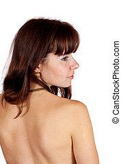 Rear view of beauty girl