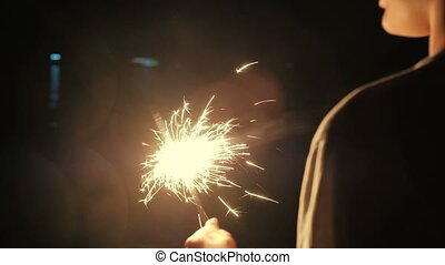 Rear view of boy having fun with sparkler - Rear view of boy...