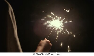 Rear View Of Boy Holding Burning Sparkler In His Hand