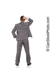 businessman - Rear view of business man hold hand on head, ...
