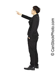rear view of Businessman pointing copy space