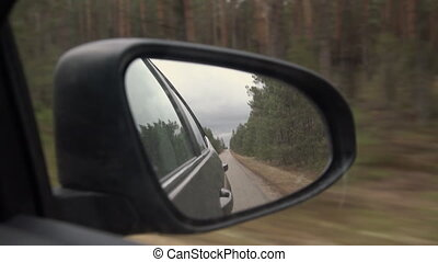 Rear view of car mirror on the road in nature on a cloudy day. Driving through pine forest landscape