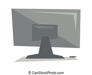 Rear view of computer display vector illustration.