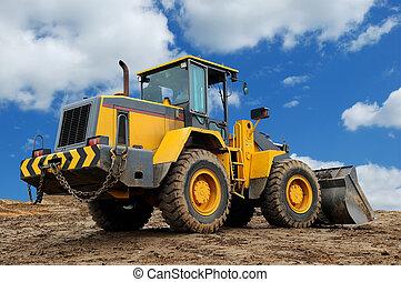 rear view of diesel wheel loader bulldozer