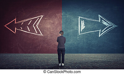 doubtful businesswoman in front of a split wall as arrows leads in two different ways red and blue side. Correct choice left or right, failure or success