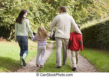 Rear view of family walking along track - Rear view of...