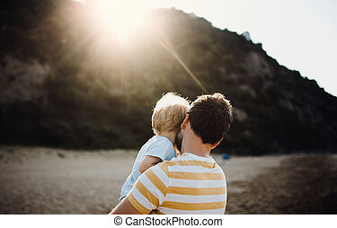 Rear view of father with a toddler boy on beach on summer holiday at sunset.