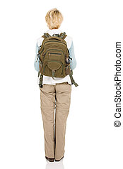 rear view of female hiker with backpack