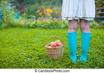 Rear view of female legs in rubber boots and a basket with red apples