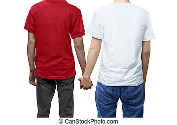 Rear view of gay couple holding hands together