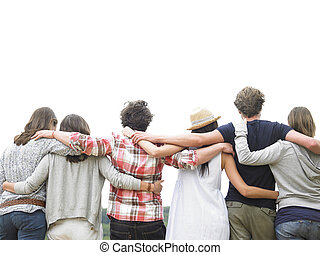 Rear View of Group of Friends Hugging - Rear view of group ...