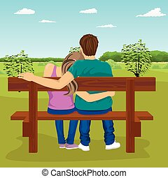 Rear view of happy young couple sitting together on a bench outdoors in summer