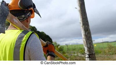 Lumberjack walking with axe in forest 4k - Rear view of ...