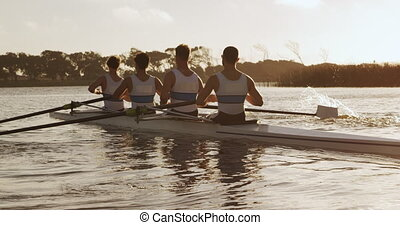 Rear view of male rower team rowing on the lake - Rear view ...