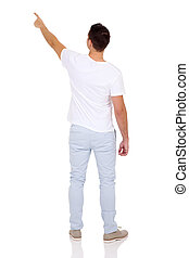 rear view of man pointing on white background