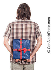 Rear view of man with blue present