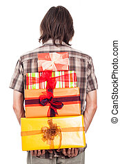Rear view of man with gifts
