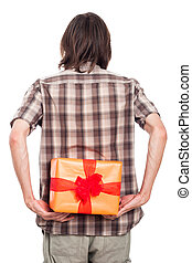 Rear view of man with present