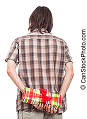 Rear view of man with small present