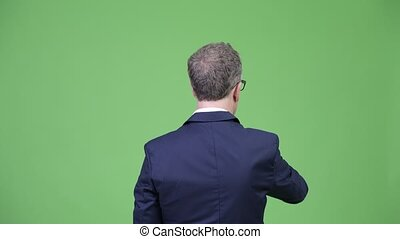 Rear view of mature businessman directing while pointing...