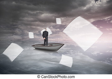 Rear view of mature businessman posing in a boat against heavenly water and sky