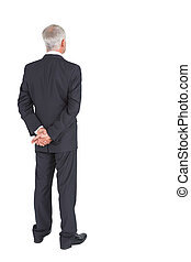 Rear view of mature businessman posing on white background