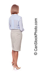 rear view of middle aged business woman isolated