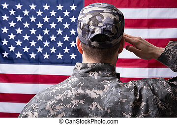 Military Man Saluting Us Flag