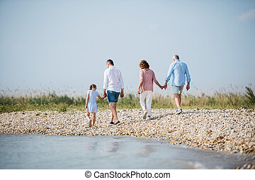 Rear view of multigeneration family on a holiday on walk by the lake, running.