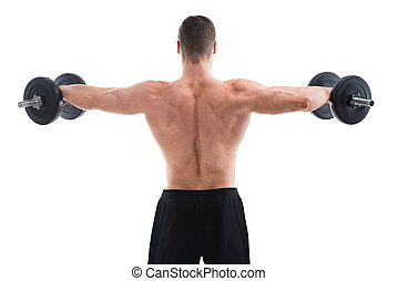 Rear View Of Muscular Man Lifting Dumbbells