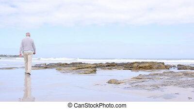 Rear view of old caucasian senior man walking at beach 4k - ...