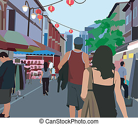 Rear view of people walking in the street