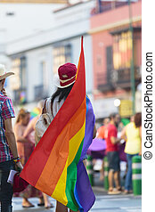 Rear view of person holding gay pride flag