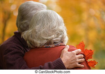 Rear view of senior couple hugging in park