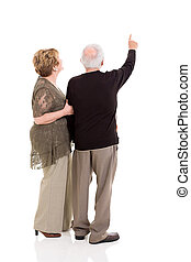 rear view of senior couple pointing at copy space on white...