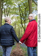 Rear View Of Senior Couple Walking Hand In Hand Through...