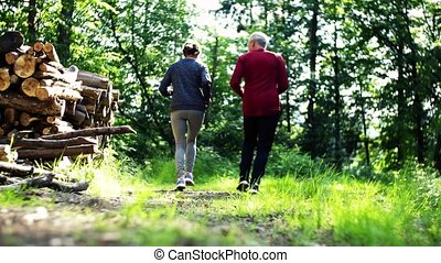 Rear view of senior sporty couple running in the forest outdoors in sunny nature.
