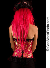 Rear view of sexy cabaret girl
