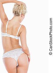 Rear view of sexy woman in underwear