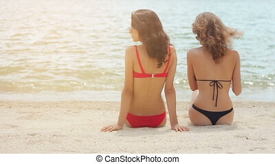 Rear view of sexy women in swimsuit sitting on sandy beach