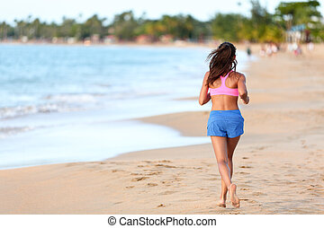 Rear View Of Sporty Woman Running On Beach