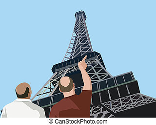 Rear view of  tourists pointing towards eiffel tower