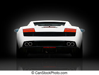 Rear view of vihite supercar - Rear view of white supercar...
